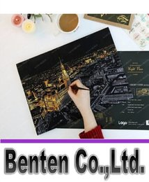 Wholesale Pressure Building - London Scratch Night View Paper Home Decoration Reduce Pressure Scraping Scratch Drawing World Sightseeing Creative World Building LLFA9048