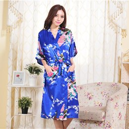 Wholesale Kimono Robe Satin Wholesale - Wholesale- Satin Floral Long Robes Women Bath Robe Sleepwear Bridesmaid Bride Satin Robes Silk Kimono Robe For Pajama Party