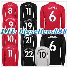 Wholesale Man United Top - TOP QUALITY 17 18 ALEXIS Long sleeves Ibrahimovic LUKAKU red Home 3RD Soccer Jersey United MARTIAL POGBA RASHFORD away football Shirt