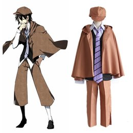 Wholesale Coat Tie For Men - Japanese Anime Bungo Stray Dogs Cosplay Edogawa Ranpo Costume for Adults Coat+Pants+ Vest +Shirt + Hat+Tie per set