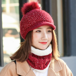 Wholesale Plain Cycling Cap Wholesale - Winter bras hat cap neck cold knitted wool hat female outdoor cycling wind hood cap cap