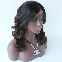Wholesale Indian Swiss Lace Front Wigs - #1b 4 full lace human hair ombre wigs brazilian glueless omber full lace human hair ombre wig with baby hair lace front wig