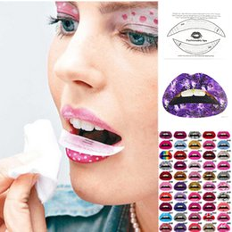 Wholesale Party Eye Tatoo Stickers - Wholesale- 1pc Temporary Lip Tattoo Stickers Lipstick Art Transfers Art Party Fancy Dress Tatoo