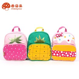 Wholesale Schools Bags Strawberry - Meeycu girls school bags 1-6th bags fruit Strawberry pineapple pattern bags zdb005 pink green