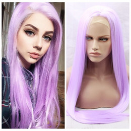 Wholesale Purple Cosplay Wigs - Fashion Style Glueless Synthetic Lace Front Wig Cosplay Purple Long Straight Synthetic Hair Wigs for Black Women Heat Resistant Fiber Wig