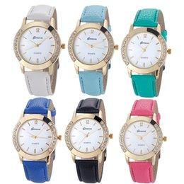 Wholesale Watch Crystal Glass - Newest Flower Printed Watches Fashion Women Diamond Crystal Analog Quartz Wristwatch Rhinestone Lady Dress Leather Reloj Relogio