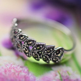 Wholesale Rings Marcasite - Jarry 234 Silver wholesale 925 Sterling silver jewelry small set Marcasite grain ring retro Thai silver Hot style