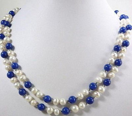 Wholesale Lapis Lazuli Pearl Necklace - Natural 2 Rows Real White Pearl Lapis lazuli Beads 18KWGP Clasp Necklace AAA