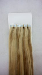 """Wholesale Hair Extension Tape 613 - 14""""-28"""" Tape In Brazilian Indian Peruvian Human Hair Extensions Piano Color #27 613 40 pieces 100g Tape Human Hair"""