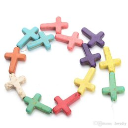 Wholesale Howlite Crosses Wholesale - 25pcs A Strand Mix Colored Howlite Turquoise Side Ways Crosses Spacer Beads For DIY Jewelry Making