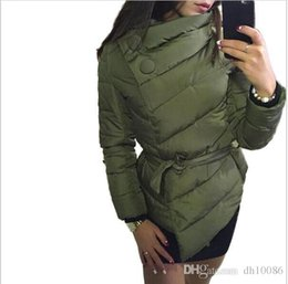 Wholesale Warming Waist Belt - winter jacket women duck down coat 1950s 60s high collar with belt parkas for women winter 3 colors warm outerwear coats