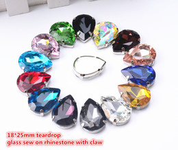 Wholesale Glass Dress Shoes - Free shipping 25pcs lot 18*25mm Teardrop Crystals Buttons Droplet Glass with White K Metal Claw Settings Sewing On Dress Shoes