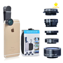 Wholesale Iphone Telephoto - HD Camera Lens Kit 5 in 1 198° Fish Eye Telephoto Lens Wide Angle for iPhone 6 Plus 7 Plus Samsung S7 Edge