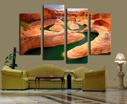 Wholesale Canvas Paintings For Christmas - 4 Panel Beautiful Red Mountain Landscape Large Hd Picture Modern Home Wall Decor Canvas Print Painting For House Decorate Christmas Gift