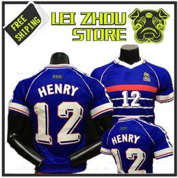 футбол франция равномерное Скидка 1998 Франция главная Джерси 98 Таиланд качество ретро ретро винтаж Зидан #10 Генри #12 Майо де фут униформа футбол Майки рубашка
