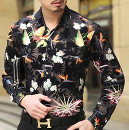 Wholesale Long Sleeves Transparent Tops - Top Fashion Trendy Luxury Mens Silk Shirts Formal Transparent Velvet Shirt Long Sleeve Slim Fit