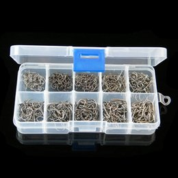 Wholesale Fish Tackle Boxes - Size #3-12 High Carbon Steel Circle Owner Fishing Hooks Set Freshwater Fishhook Sets Strong Fish Tackle 500PCS Box Wholesale