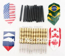Wholesale Wholesale Steel Tip Darts - 18 pcs(6 sets) of Steel Tip Darts Slim Barrel with 6 Kinds of National Flag Dart Flights Dart Shafts