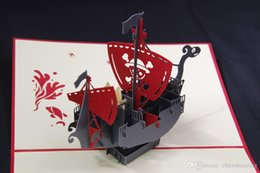 """Wholesale Pop Up Cards Boat - Hot Creative """"Corsair Boat"""" Handmade Kirigami & Origami 3D Pop UP Greeting Cards For Birthday Gift Free Shipping"""