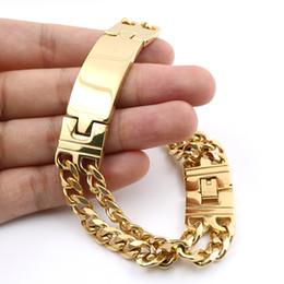 Canada Hommes Bijoux De Mode Bracelet En Or 22cm Longueur Double Lignes Charmant Bracelet de Haute Qualité Hommes Bijoux En Acier Inoxydable Offre