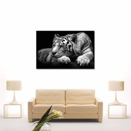 Wholesale Tiger Canvas Art - 1-Picture Combination Black & White Wall Art Painting Red Eyed Tiger Prints On Canvas Pictures Oil For Home Modern Decoration