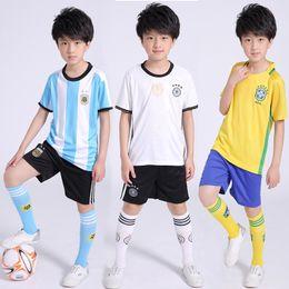 Wholesale American Football Jerseys Wholesale - Children Jersey Football tracksuits Students training clothing T +shorts 2pcs set Sports wear Nation patterns 2-13years 2017