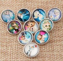 Wholesale Mixed Silver Jewerly - 100Pcs Frozen Elsa Anna 18mm Button NOOSA Ginger Snap Charms Jewelry Interchangeable Jewerly Charms Pendants Necklace Mixes 2016