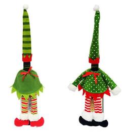 Wholesale Polka Dot Wine - New Lovely Stripe Wine Bottle Cover Bags For Christmas Xmas Decorations Polka Dot  Stripe Dress + Hat