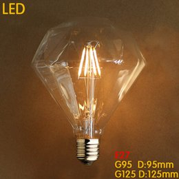Wholesale Diamond Candles - Retro Diamond Led Bulb E27 4W 6W 8W G125 G95 Clear 110- 240V Replace Vintage Chandeliers Pendant Candle LED Filament Bulb Edison Bulb Lamp