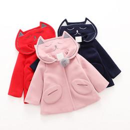 Wholesale Kids Korean Style Coat Jacket - Everweekend Kids Girls Cute Cartoon Cats Hooded Coats New Fashion Western Children Outwears Jackets Korean Style Coats