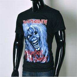 Wholesale Tee Shirt Iron Size - Wholesale-Brand clothing 2016 new Arrival Europe And America Top Hot 3d tshirt Men's Casual T-shirt Iron Maiden Print Tops Tee Size S-XXL