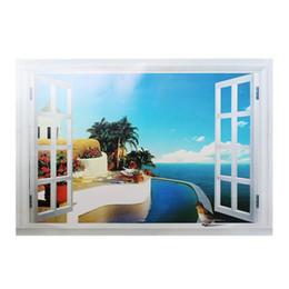 Wholesale Decorative View Window - 3D Window Scenery Beautiful Sea Beach View wall sticker fake window wall poster decorative poster free shipping