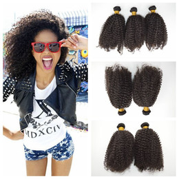 Wholesale Mongolian Kinky Curl Weave - Brazilian afro kinky curly Hair bundles unprocessed curl human hair weft cheap weave G-EASY fast delivery