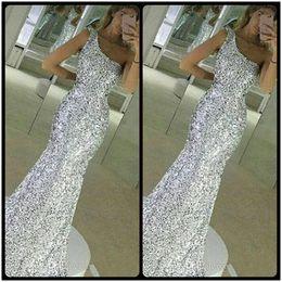 Wholesale One Shoulder Bling Dresses - Bling Bling Silver Sequins Evening Dresses One Shoulder Mermaid Prom Dresses Sleeveless Long Custom Made Back Zipper 2018 New Party Gowns