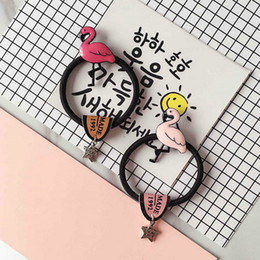 Wholesale Bands For Head - Cute flamingo Hair Bands hairline star hair circle retro students head rope rubber band hair ornaments head for women