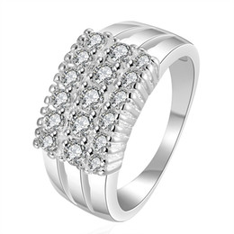 Wholesale Pave Diamond Charms - 925 sterling silver wholesale and retail cheap diamond ring Geometric special ring fashion charms engagement jewelry