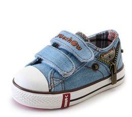 Wholesale Kids Boots Size 11 Boys - kinds New Arrived Size 21-37 Children Shoes Kids Canvas Sneakers Boys Jeans Flats Girls Boots Denim Side Zipper Shoes