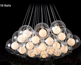Wholesale Led Bar Glasses - Modern led pendant light 37 ball art glass chandelier for living room bar AC85-265V G4 chandeliers Bulb hanging glass pendant lamp fixtures