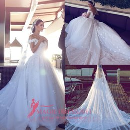 Wholesale basque ball - 2016 Saudi Arabic Ball Gown Wedding Dresses Said Mhamad Off-Shoulder Hand made flowers Court Train Vintage Garden Beach Bridal Gowns