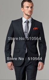 Wholesale Italian Wool Men Suit - Wholesale-Free shipping Italian high quality worsted 100% pure Wool suit Men Business suit Two Buttons Nanotech Charcoal Pinstripe Suit