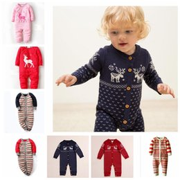 Wholesale Knit Santa Hat Baby - Newborn Winter Baby Rompers Long Sleeve O-neck Christmas Sweaters Knitted Jumpsuits Hats Deer Animal Santa Autumn 0-22 Months KKA2734