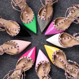Wholesale Rubber Patches - New Mixed-colors Rivets Studded Women Sandals High Heels Narrow Band Patch Ankle Strapy Buckle pointed Toe Party Shoes Woman