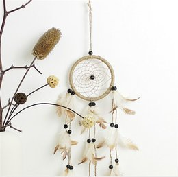 Wholesale Indian Stocks - Antique Imitation Enchanted American Pastoral Indians Mysterious Dreamcatcher Gift Handmade Net Feathers Wall Hanging Decoration Ornament