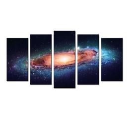 Trabajo de oficina online-5 Panel Space And Universe Canvas Print Cosmos Star Sky Landscape Canvas Art Wall Art Giclee para Decoración del Hogar y Oficina 60''x32 '
