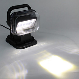 Wholesale Led Field Lighting - Black 50w 360º Cree LED Rotating Remote Control Work Light Spot for SUV Boat Home Security Farm Field Protection Emergency Light Car Boat