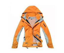 Wholesale Woman Orange Ski Jacket - new outdoor soft shell jacket women Cultivate one's morality waterproof outdoor thermal two-piece Outdoor mountain ski jacket