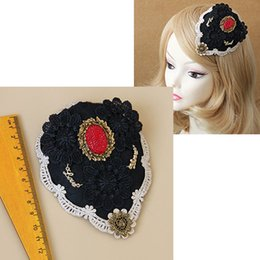 Wholesale Gothic Lolita Punk - Gothic Punk Flower Fascinator Hat Clip Bangs Pin Lolita Prom Party Cosplay Head Decor Flower Hair Barrettes