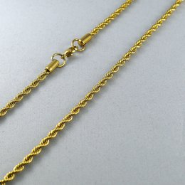 Wholesale Kt Jewelry - KT stainless steel jewelry chain width 3mm twist length 60cm weight 13g golden classic wild section