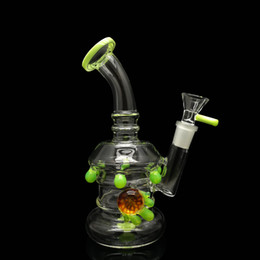 Wholesale Round Glass Bowls - 7in Glass bong adorned with color drips accross the glass bongs 265g round bottom glass water pipe come with bowl