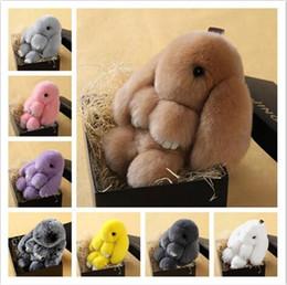 Wholesale Toy Car Backpack - 2016 New Hot Rex Rabbit Key chain 9 Colors Fur Car Backpack Rabbit Doll Pendant Cute Fashion Toys Wallet Handbag Pendant